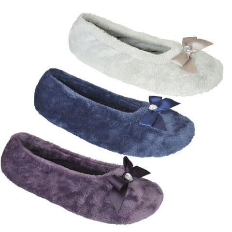 Ladies Velour Ballet  With Matching Bow Microfiber sole S/m M/l L/xl sizesFT1588